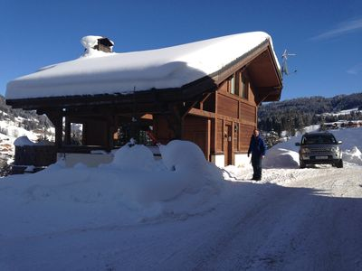 Photo for Luxury family ski chalet, wonderful mountain views, in the resort of Les Gets.