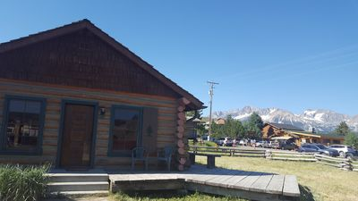 Our cozy cabin is located in downtown Stanley with a breathtaking mountain view