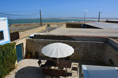 large patio, totally private. view from upper floor