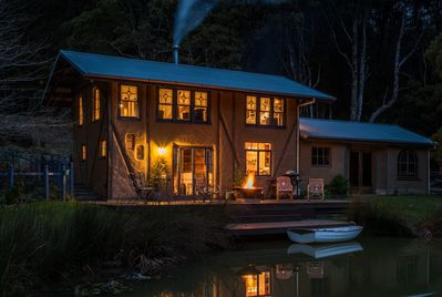 Kick back and relax in our unique converted cob barn, by the pond, in the forest