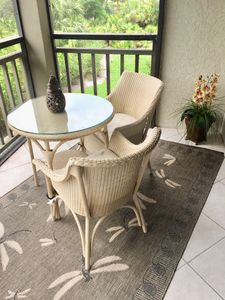 Bistro table on porch.