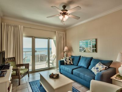 Living room, balcony overlooking the Gulf and beach, pool