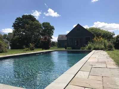 Salt water pool and pool house with tread mill