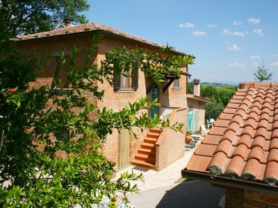 Photo for Beautiful private villa with private pool, TV, pets allowed and parking, close to Montepulciano