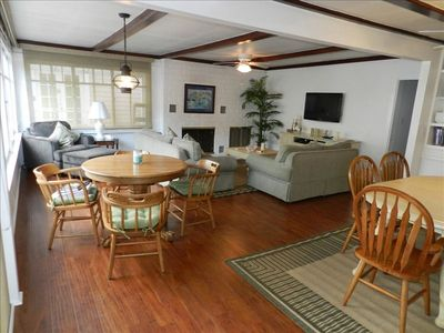 Open floor plan with 50' flat screen tv, fireplace and big windows that slide open.  Wi-fi and Dish Network too!