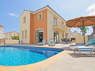 Photo for Zelia Villa - Modern Villa with Private Pool and Jacuzzi located in the Pretty Harbour Town of Pernera and just 300 meters from the Beach! Free WiFi