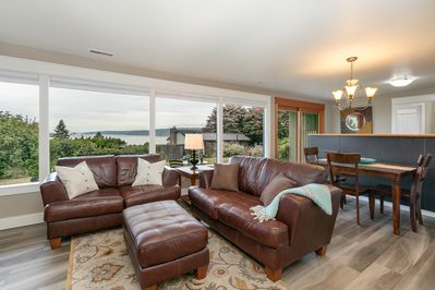 Living room with Puget Sound views
