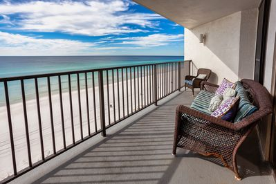 Watch the waves from our generously sized balcony, angled to watch the sunsets.