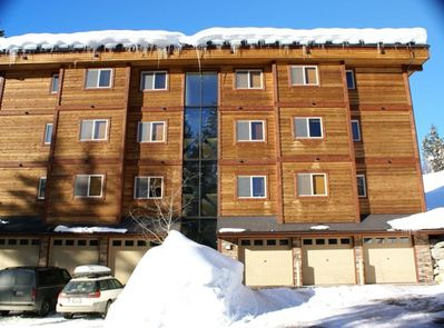 Top right Penthouse unit with heated garage and elevator to the top.