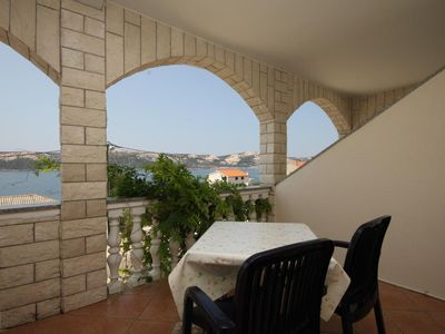 Photo for Studio flat with terrace and sea view Stara Novalja, Pag (AS-6469-b)