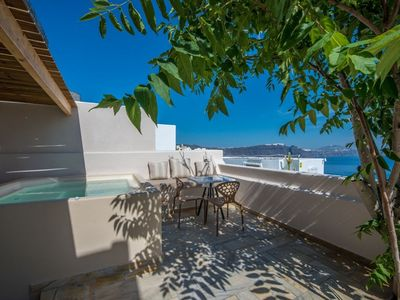 Photo for Stunning Blue Two Bedroom Villa with Hot Tub ,views of the Aegean Sea Incl Breakfast