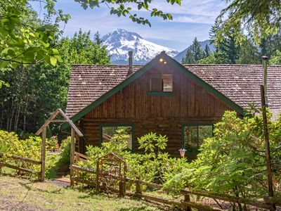 Photo for Spectacular Mt Hood view, creek on acreage, firepit, hot tub, dog friendly