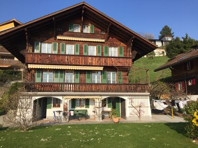 Photo for Lake & Mountain View Apartment in a Swiss Chalet with Balcony and Parking