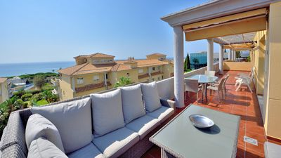 Photo for Penthouse, huge terraces with sea views - luxury 2 bed 2 bath Cabopino apartment