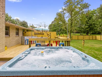 Photo for Renovated 3BR/2BA - Huge Party Deck, Hot Tub, Fire Pit & Bar