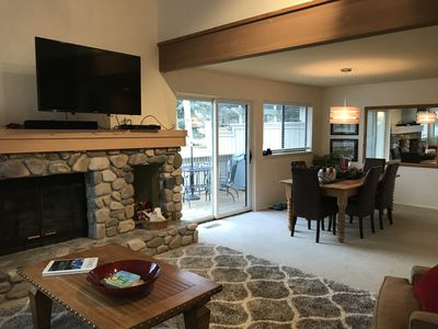 Enjoy the Fireplace, TV and Baldy Views