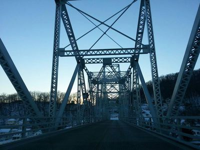 The Black Hawk bridge crossing the Mississippi from Wisconsin into Iowa.