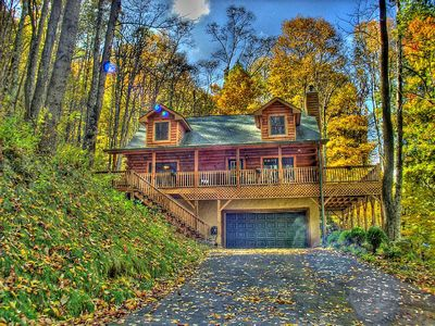 Photo for Luxury Mountain View Cabin Near Maggie Valley Hot Tub WIFI HBO
