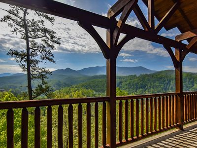Photo for Luxury Cabin w Scenic Mtn View, Hot Tub & Game Room for 8ppl