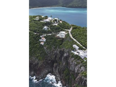 Aerial view of the cliff-side property