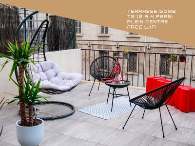 Photo for Superb T2 with terrace of 50m2 - Full Center