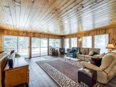 Photo for Rustic home w/ a wood stove, private dry sauna, & two decks w/ forest views!
