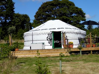 Photo for The yurt stands alone in a young wood with a large pond, we are pet friendly too
