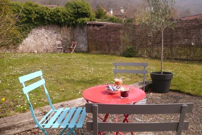 Back garden - enclosed and private with beautiful views up to the mountains.