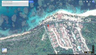 Satellite view of our House exact location 100 feet from your own private beach!