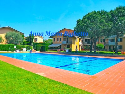 Photo for Bardolino - Three-room apartment in a residence in a quiet area with swimming pool