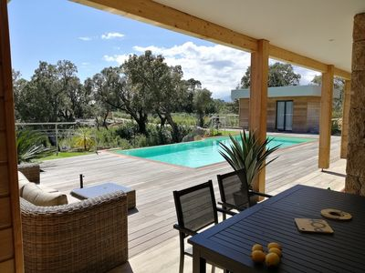 Photo for Villa in wood and stone with 3 bedrooms and a pool, near beaches