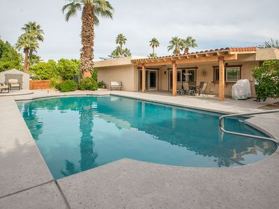 Photo for Glamorous Palm Desert getaway with a pool, terrace, and firepit - dogs welcome!