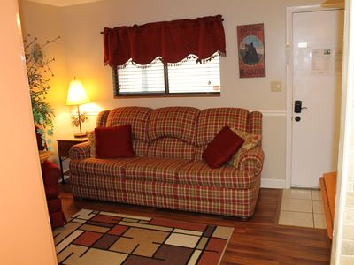 Photo for Downtown, nice furnishings, clean and cozy w/ fireplace, indoor & outdoor pools.