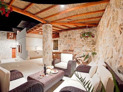 Photo for Charming stone house, Vis old town, cozy outdoor lounge & sun terrace,  BBQ