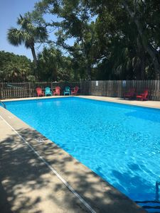 Photo for Huge private Pool!! Short walk to beach! Grill deck Golf cart Avail.