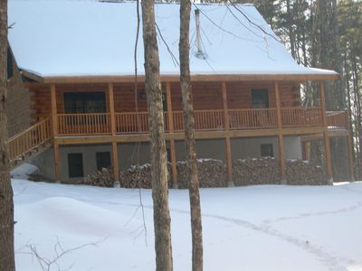 Log Home with Porch and Back Deck
