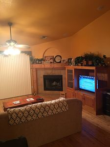 Another Living Room view with brand new television with cable and  fast wifi