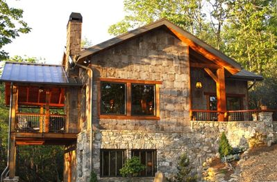 """Front View of """"Asheville A Cabin"""" Downstairs is Master bedroom and Master Bath."""