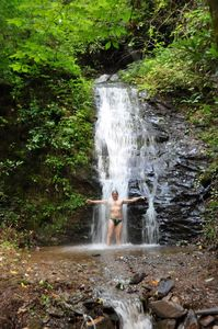 Take a cool shower in our secluded waterfall just 100ft. behind the cabin.