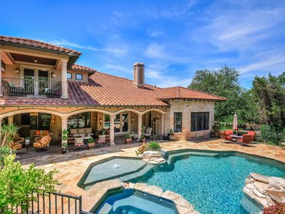 Photo for ARRIVE AFORTUNADO Gated Luxury Estate w Pool Oasis BBQ 8m ATX Up to 13 Beds