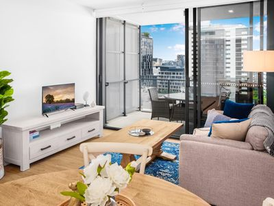 Photo for Modern 1-Bed Apartment with Balcony and Leisure Area