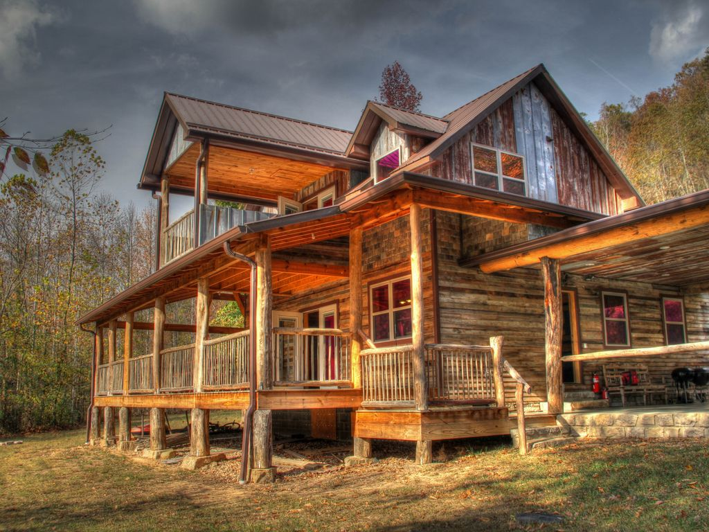 awesome craftsman style log homes #9: Craftsman style Riverfront Cabin!