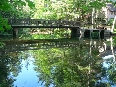 WATERFRONT, CENTRAL A/C, LUXURY,  WATERFALL, WALK TO N. CONWAY, PETS CONSIDERED.