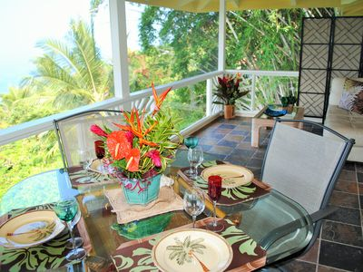 Screened lanai for relaxing and dining.