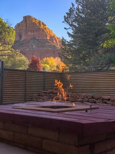 Wine and Sunset or Coffee and Sunrise. Fire pit on the patio.