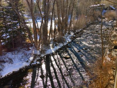 View from Master Bedroom of Roaring Fork River.