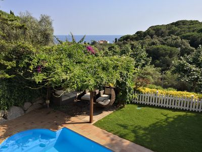Photo for Luxurious Ocean View Beach House, WiFi, Private Garden & Pool in Barcelona Coast