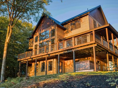 Photo for Elegant home with mountain views, grill, and wrap-around deck!