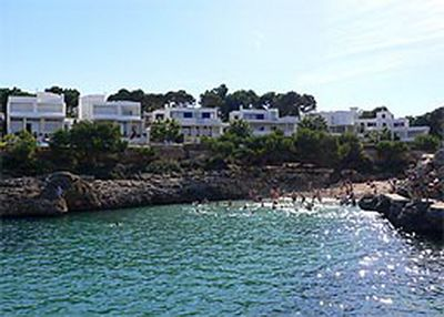 Photo made from the sea to the villa and the Calo d´Es Pou Beach