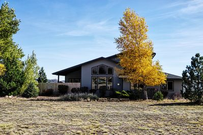 The front of our home features huge windows overlooking the San Francisco Peaks.
